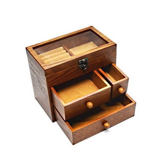 Vue de 3/4 de la boîte à bijoux en bois tiroirs et verre ouverte et sans bijoux