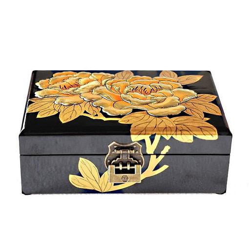 vue de face de la boîte à bijoux originale 'or & jais' (fermée)