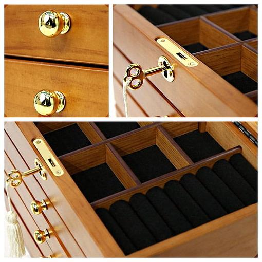 Collage de photos présentant des détails de la boîte à bijoux à 4 tiroirs (2/2)