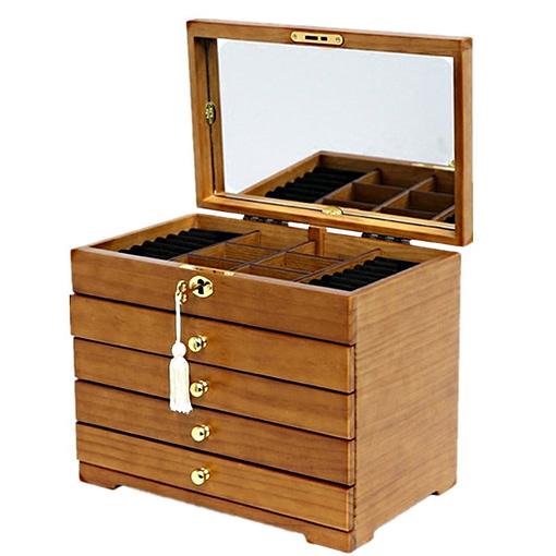 Vue de 3/4 de la boîte à bijoux à 4 tiroirs, ouverte