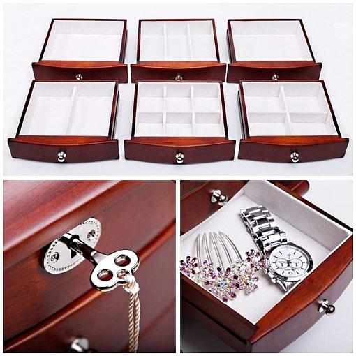 Collage de 3 photos de détails de la grande boîte à bijoux tiroirs et portes