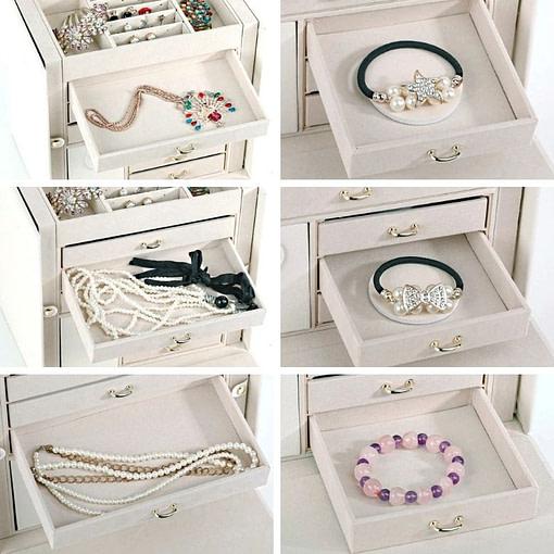 Compartiments de la boîte à bijoux cuir blanc 6 tiroirs porte-bagues