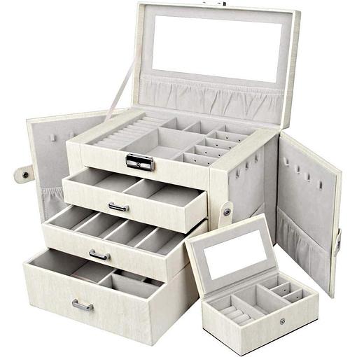 Vue de 3/4 de la boîte à bijoux en cuir blanc avec écrin (ouverte)