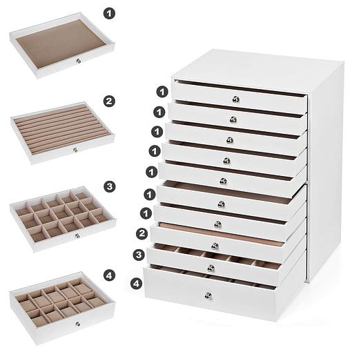 Détails des compartiments de la boîte à bijoux en cuir à 10 tiroirs blanc
