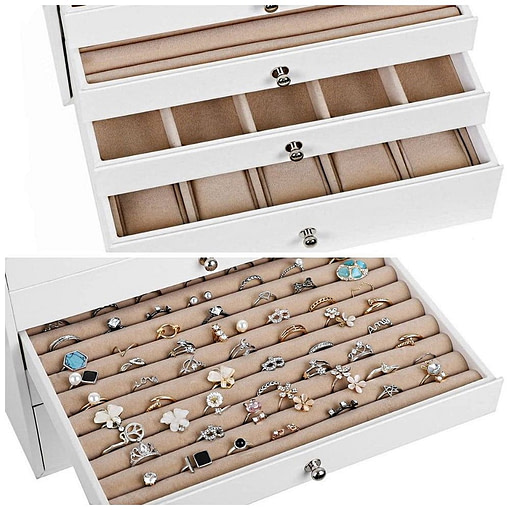 Compartiments de la boîte à bijoux en cuir à 10 tiroirs blanc