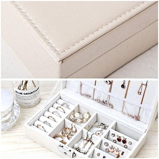 détails (extérieur & intérieur) de la boîte à bijoux femme cuir blanc