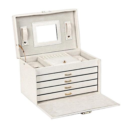 Vue de 3/4 de la boîte à bijoux en cuir à 4 tiroirs blanc (ouverte)