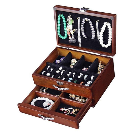 Vue de 3/4 de la boîte à bijoux en bois classique à tiroir (ouverte)