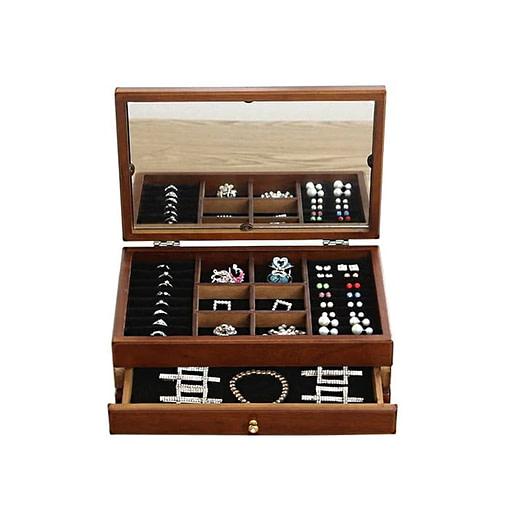 Vue de 3/4 de la boîte à bijoux en bois fleurs et tiroirs (face)