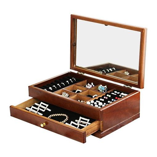 Vue de 3/4 de la boîte à bijoux en bois fleurs et tiroirs (ouverte)