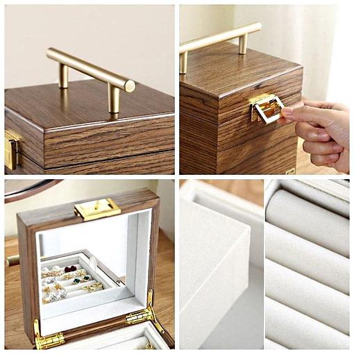 Collage de 4 photos présentant les détails de la boîte à bijoux en bois 'petit cube'