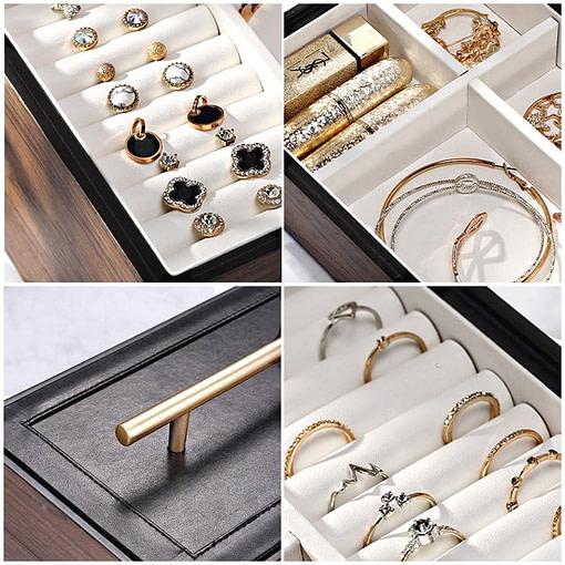 Collage de 4 photos présentant les détails de la boîte à bijoux en bois 'quadri compartiments'
