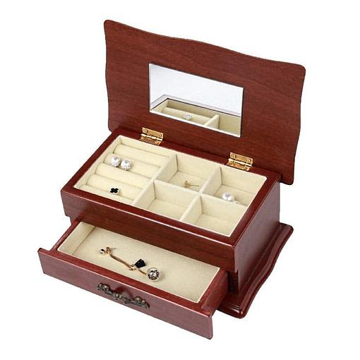 Vue de 3/4 de la boîte à bijoux en bois sarcophage à tiroir (ouverte)