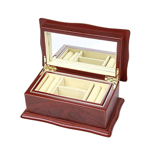 Vue de 3/4 de la boîte à bijoux en bois 'petit sarcophage' (ouverte)