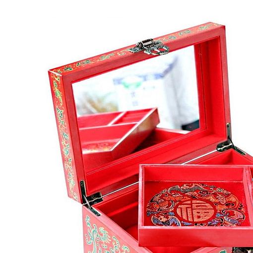 Vue de 3/4 de la boîte à bijoux originale 'canards mandarins' (ouverte, zoom sur plateau porte-bijoux)