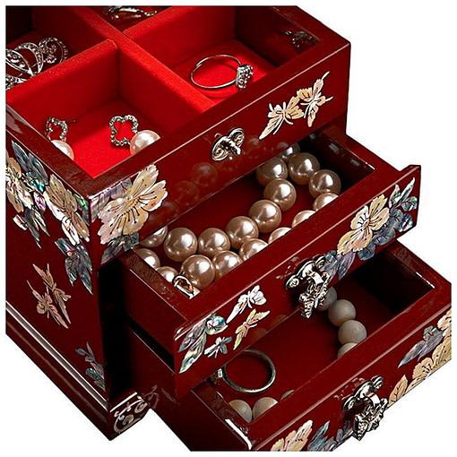 Zoom de la boîte à bijoux originale 'petite tour' (vue sur les compartiments)