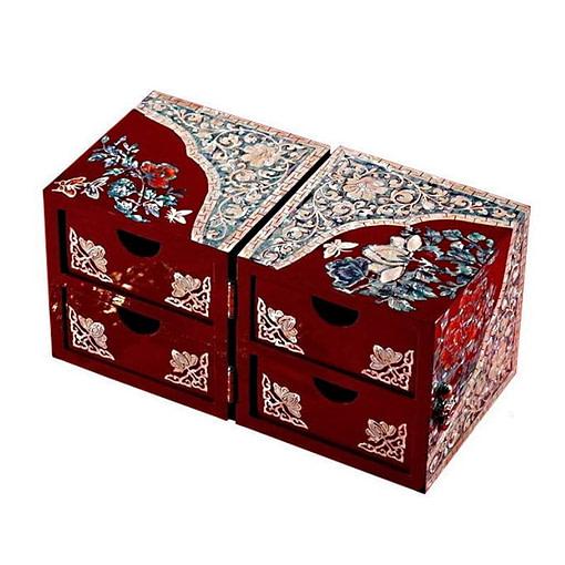 Vue de 3/4 de la boîte à bijoux originale '2 cubes rouges' (ouverte)
