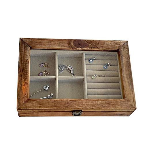 Vue de dessus de la boîte à bijoux en bois 'rustique' (fermée)