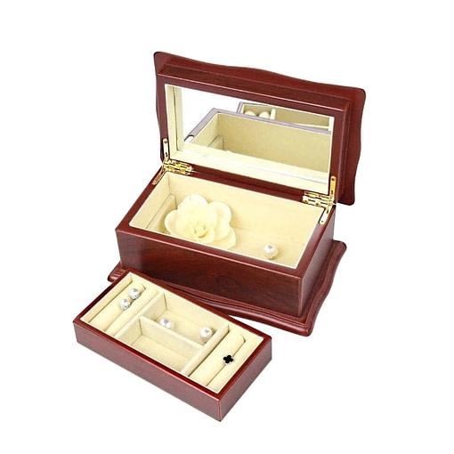 Vue de 3/4 de la boîte à bijoux en bois 'petit sarcophage' (ouverte, avec compartiment déposé)