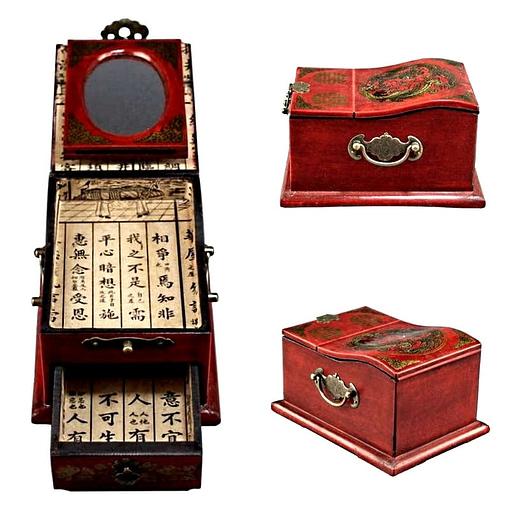 Collage de 3 photos présentant les vues arrière, de côté ainsi que les compartiments de la boîte à bijoux originale à miroir dépliant
