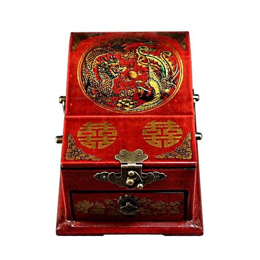 Vue du couvercle de la boîte à bijoux originale à miroir dépliant