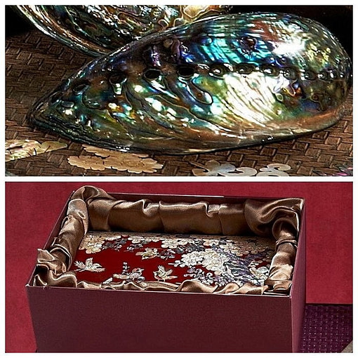 Collage de 2 photos présentant la boîte du coffret à bijoux original 'oiseaux' ainsi que la nacre d'une coquille d'ormeau