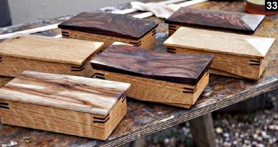 6 boîtes à bijoux en bois rectangulaires avec des styles de couvercles variés