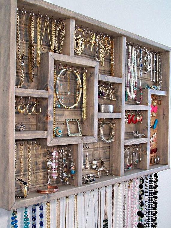 Organisateur à bijoux mural (bois)