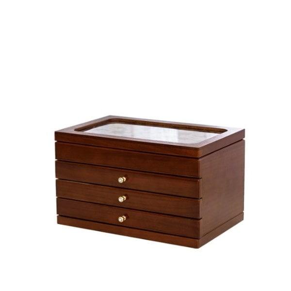 Vue de 3/4 de la grande boîte à bijoux en verre et bois
