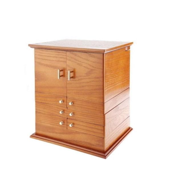 Vue de 3/4 de la grande boîte à bijoux en bois exotique (fermée)