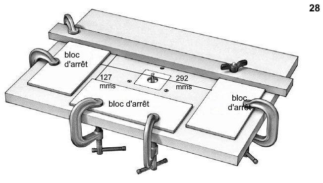 Schéma de la préparation nécessaire avant de fraiser le double fond de la boîte