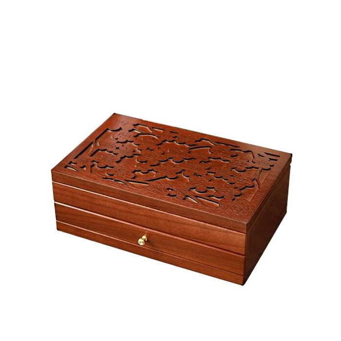 Vue de 3/4 de la boîte à bijoux en bois fleurs et tiroirs (fermée)
