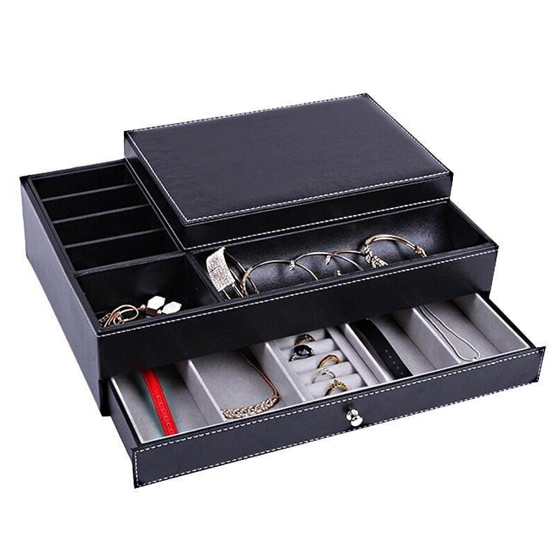 Vue de 3/4 de la boîte à bijoux en cuir tendance (tiroir inférieur ouvert, avec bijoux)