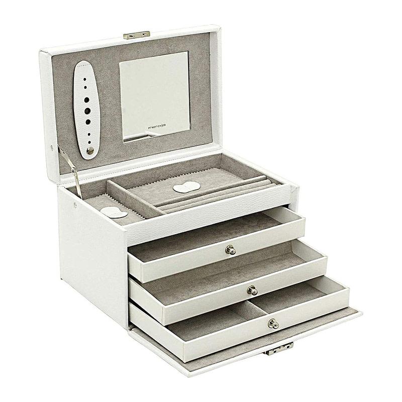 Vue de 3/4 de la boîte à bijoux en cuir blanc 3 tiroirs (ouverte)