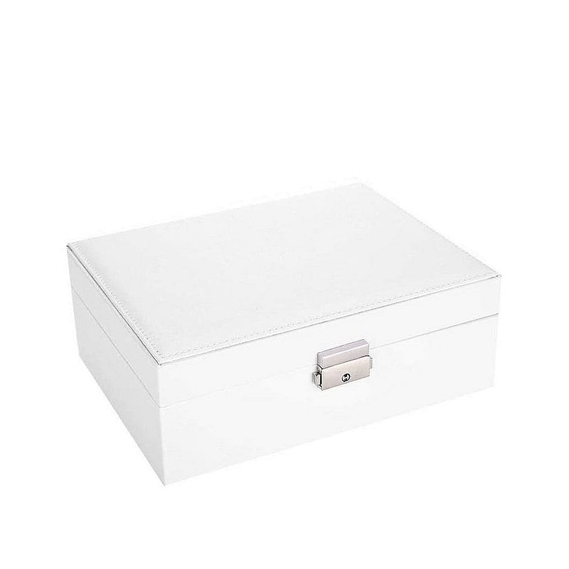 Vue de 3/4 de la boîte à bijoux en cuir blanc rectangulaire (fermée)