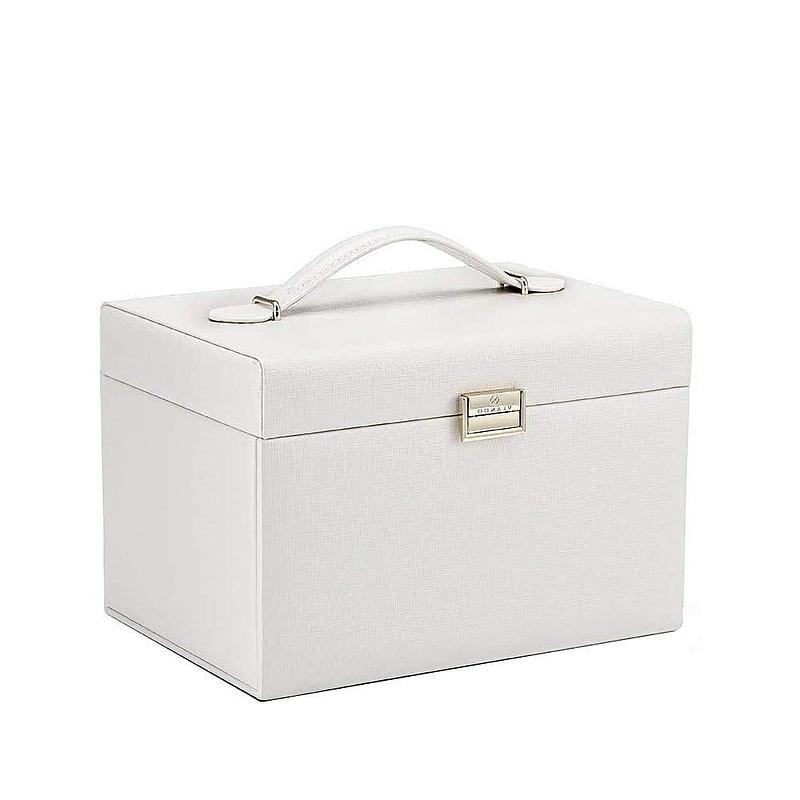 Vue de 3/4 de la boîte à bijoux en cuir blanc 3 tiroirs et porte-bagues (fermée)