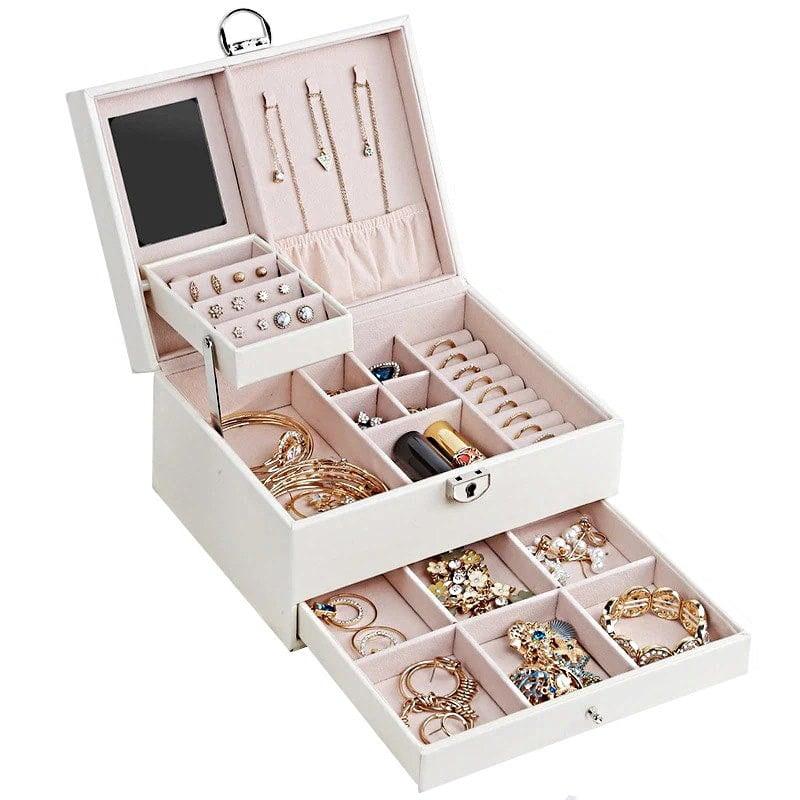 Vue de 3/4 de la boîte à bijoux en cuir à losanges blanc (ouverte)