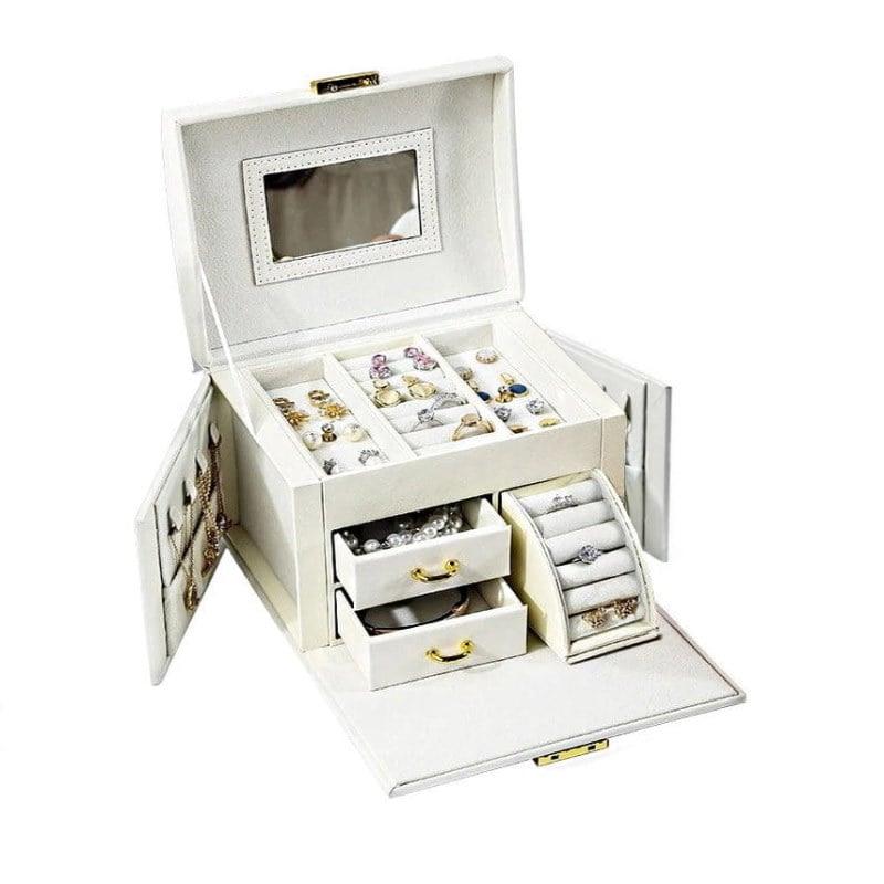 Boîte à bijoux en cuir blanc '2 tiroirs et porte-bagues' (présentée ouverte)