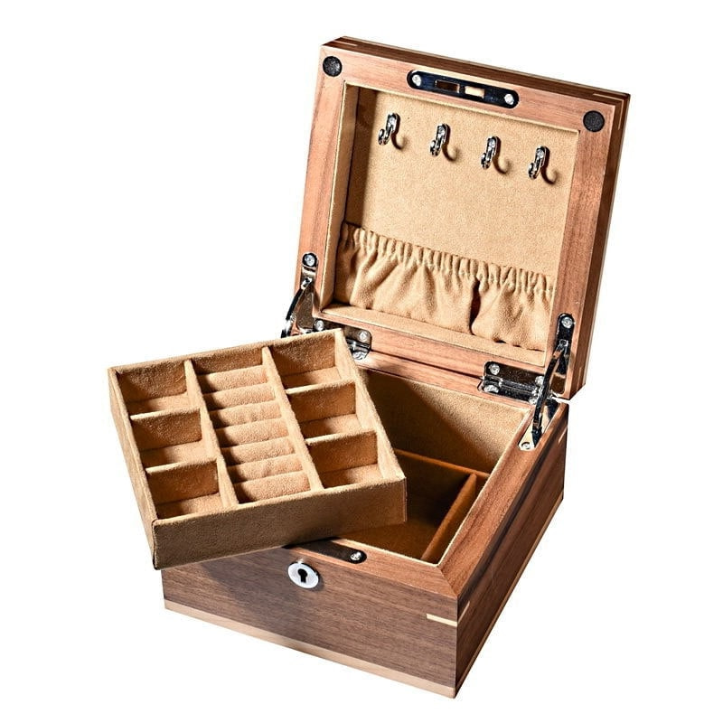 Boîte à bijoux en bois 'grand cube', ouverte avec plateau supérieur déposé