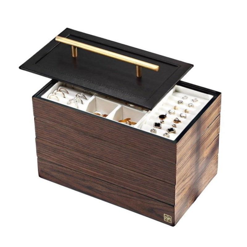 Vue de 3/4 de la boîte à bijoux en bois 'quadri compartiments' (couvercle soulevé)
