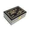 Dessus de la boîte avec une vue de Suzhou peinte en or sur fond noir (vue de 3/4)