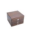 Vue de 3/4 de la boîte en bois à 2 tiroirs (fermée)