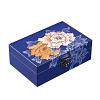 Vue de 3/4 de la boîte à bijoux originale bleue '2 pivoines'
