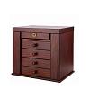 Vue de 3/4 de la grande boîte à bijoux en bois précieux (fermée)
