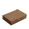 Vue de 3/4 de la boîte à bijoux bois bagues et montres (fermée)