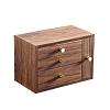 Vue de 3/4 de la boîte à bijoux en bois à tiroir vertical (fermée)