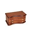 Vue de 3/4 de la boîte à bijoux en bois 'tendance' fermée