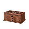 Vue de 3/4 de la boîte à bijoux en bois 2 tiroirs et fleurs (fermée)