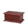 Vue de 3/4 de la boîte à bijoux en bois 'petit sarcophage' (fermée)