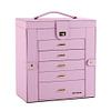 Vue de face de la grande boîte à bijoux en cuir rose à portes
